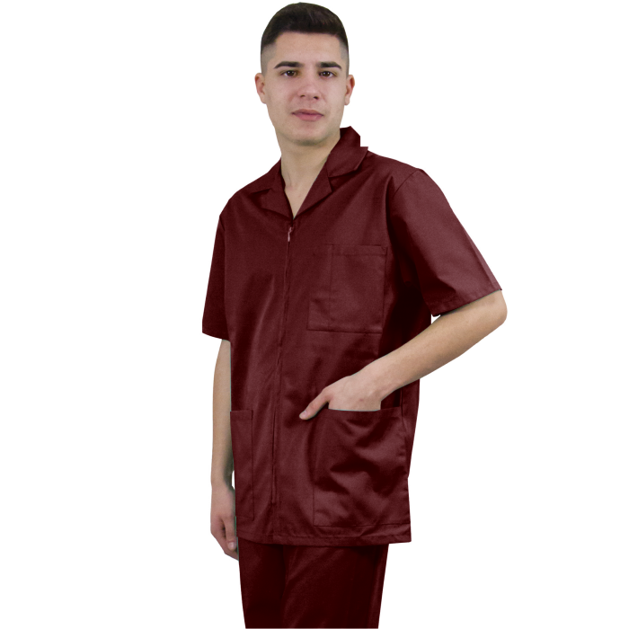Men's lab coat with zipper, with short sleeve, tercot, 170 grams, color 99133