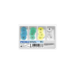 Set Mandrina + Discuri de finisare si lustruire 14mm: 1 mandrina metalica, 10buc albastru, 10buc verde, 10buc galben, 10 buc alb, 1 set