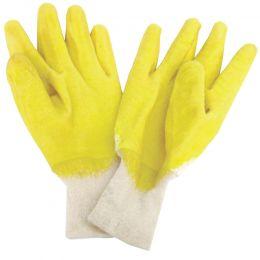 Manusi de protectie tricotate impregnate partial cu cauciuc nitrilic, galbene, cu manseta elastica, marimea XL