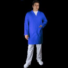 Halat Lung de Lucru UNISEX, maneca lunga, guler, rever, 5 nasturi, 3 buzunare, Tercot 200gr/m2, Albastru, marimi XS-XL