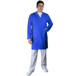 Halat Lung de Lucru UNISEX, maneca lunga, guler, rever, 5 nasturi, 3 buzunare, albastru