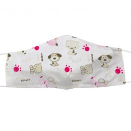 Masca bumbac reutilizabila, tip botnita cu elastic, model animalute mici roz, 1 bucata