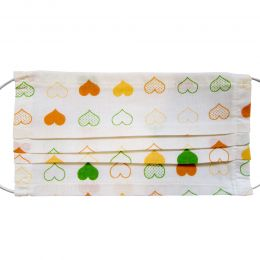 Masca bumbac reutilizabila, 3 pliuri cu elastic, model inimioare portocalii, 1 bucata