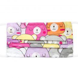 Masca bumbac reutilizabila, 3 pliuri cu elastic, urs multicolor roz, 1 bucata