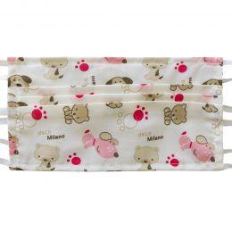 Masca bumbac reutilizabila, 3 pliuri cu legaturi, model animalute mici roz, 1 bucata