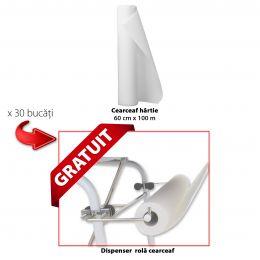 PACHET Cearceaf Hartie 60cmx100m x 30 bucati + Dispenser Rola Cearceaf GRATUIT