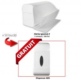 PACHET Hartie igienica Z, 2 straturi, 180 foi  x 50 buc+ Dispenser GRATUIT